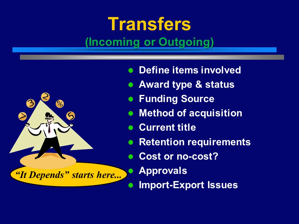 (Incoming or Outgoing) Transfers (Incoming or Outgoing) Define items involved Award type & status Funding Source Method of acquisition Current title R