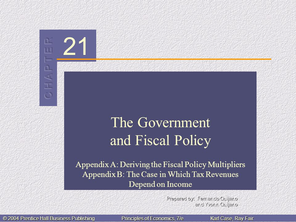 21 © 2004 Prentice Hall Business PublishingPrinciples of Economics, 7/eKarl Case, Ray Fair The Government and Fiscal Policy Appendix A: Deriving the Fiscal Policy Multipliers Appendix B: The Case in Which Tax Revenues Depend on Income Prepared by: Fernando Quijano and Yvonn Quijano