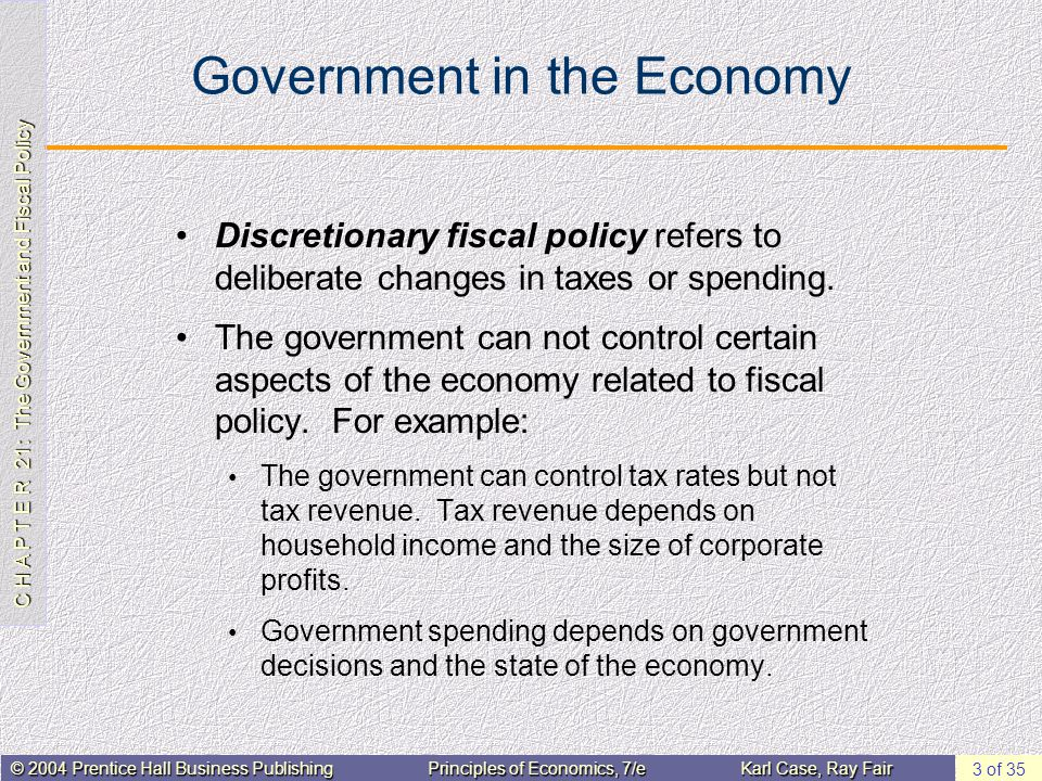 C H A P T E R 21: The Government and Fiscal Policy © 2004 Prentice Hall Business PublishingPrinciples of Economics, 7/eKarl Case, Ray Fair 3 of 35 Gov