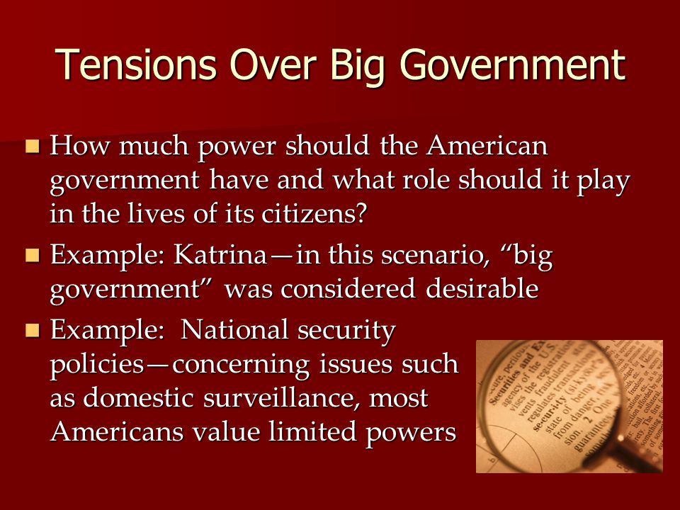 Tensions Over Big Government How much power should the American government have and what role should it play in the lives of its citizens.