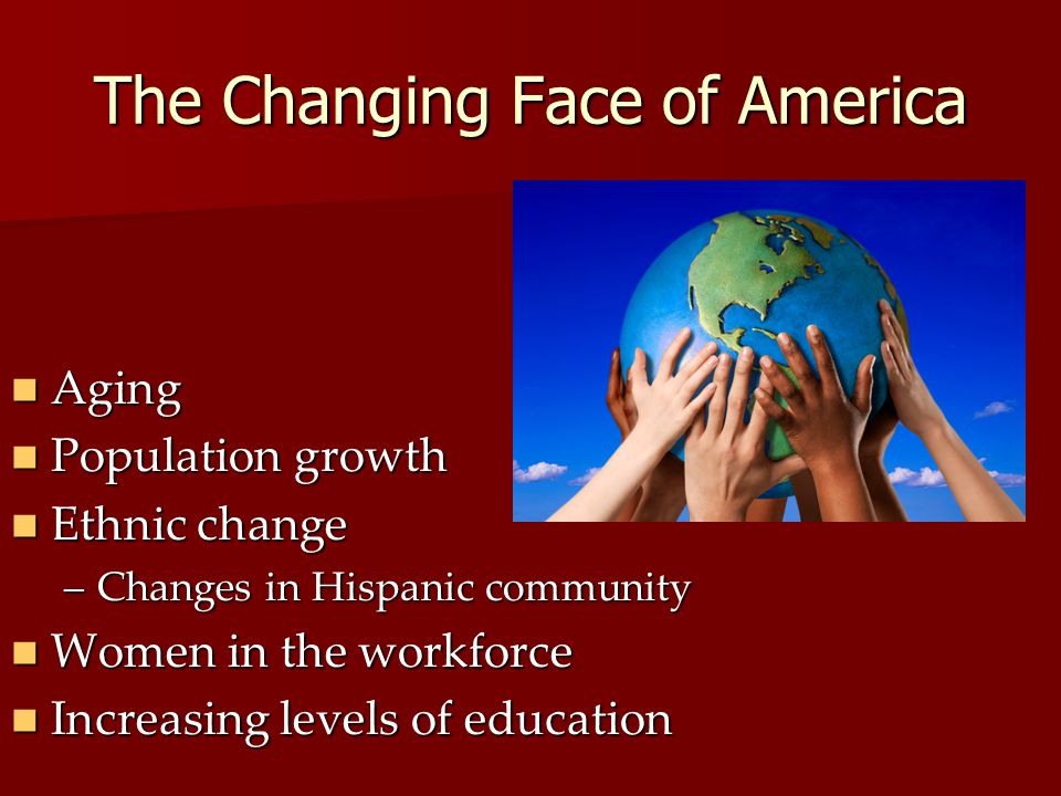 The Changing Face of America Aging Aging Population growth Population growth Ethnic change Ethnic change –Changes in Hispanic community Women in the workforce Women in the workforce Increasing levels of education Increasing levels of education
