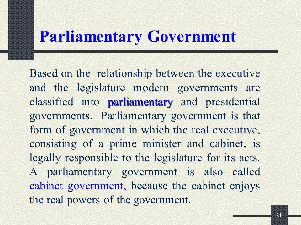 20 Parliamentary Government