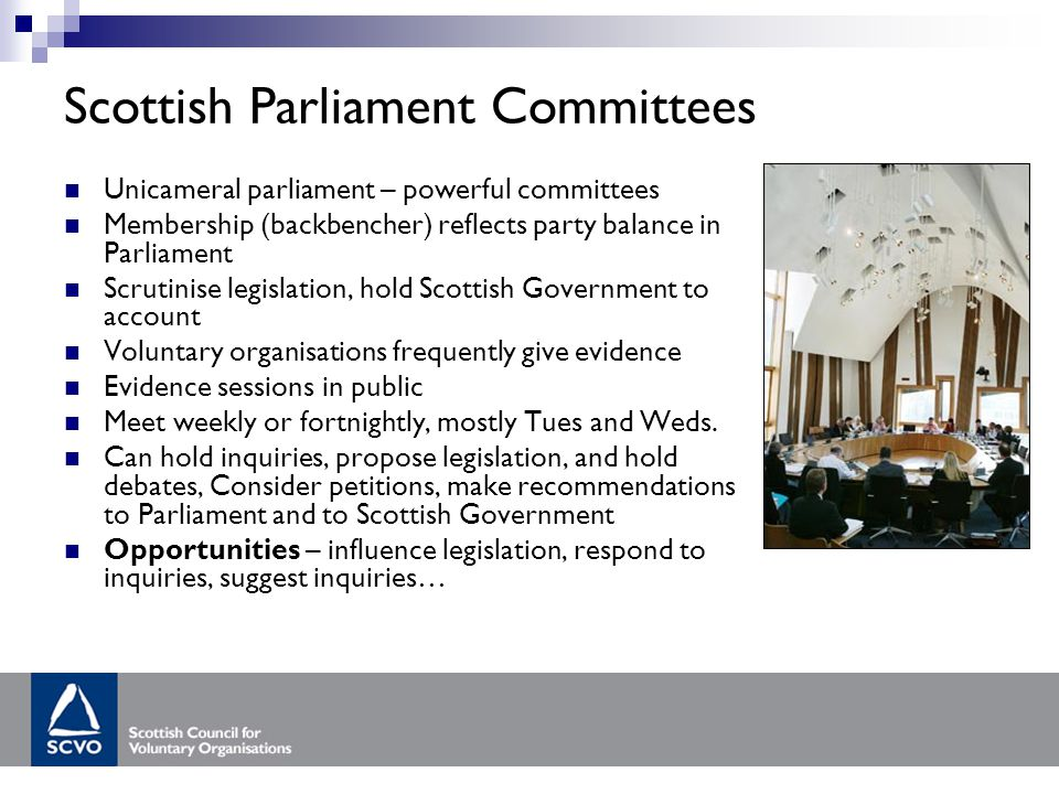 Scottish Parliament Committees Unicameral parliament – powerful committees Membership (backbencher) reflects party balance in Parliament Scrutinise legislation, hold Scottish Government to account Voluntary organisations frequently give evidence Evidence sessions in public Meet weekly or fortnightly, mostly Tues and Weds.