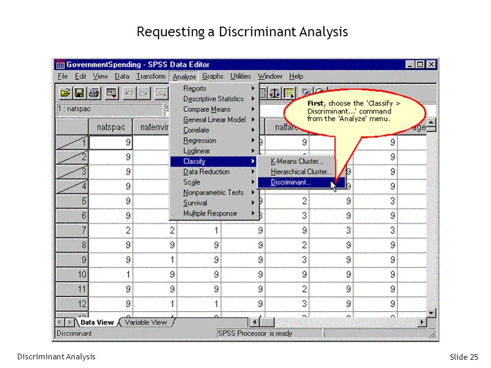 Slide 25 Requesting a Discriminant Analysis Discriminant Analysis