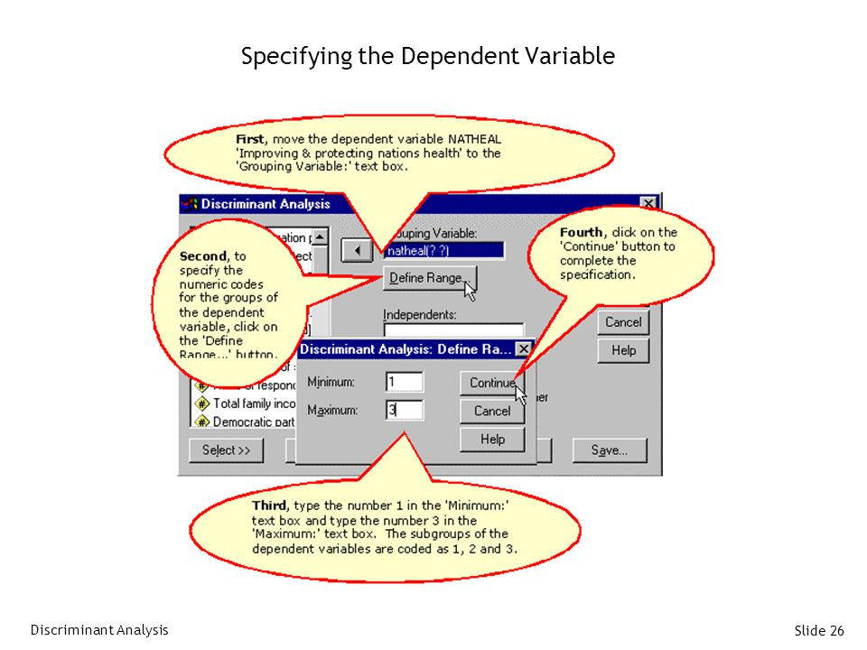 Slide 26 Specifying the Dependent Variable Discriminant Analysis