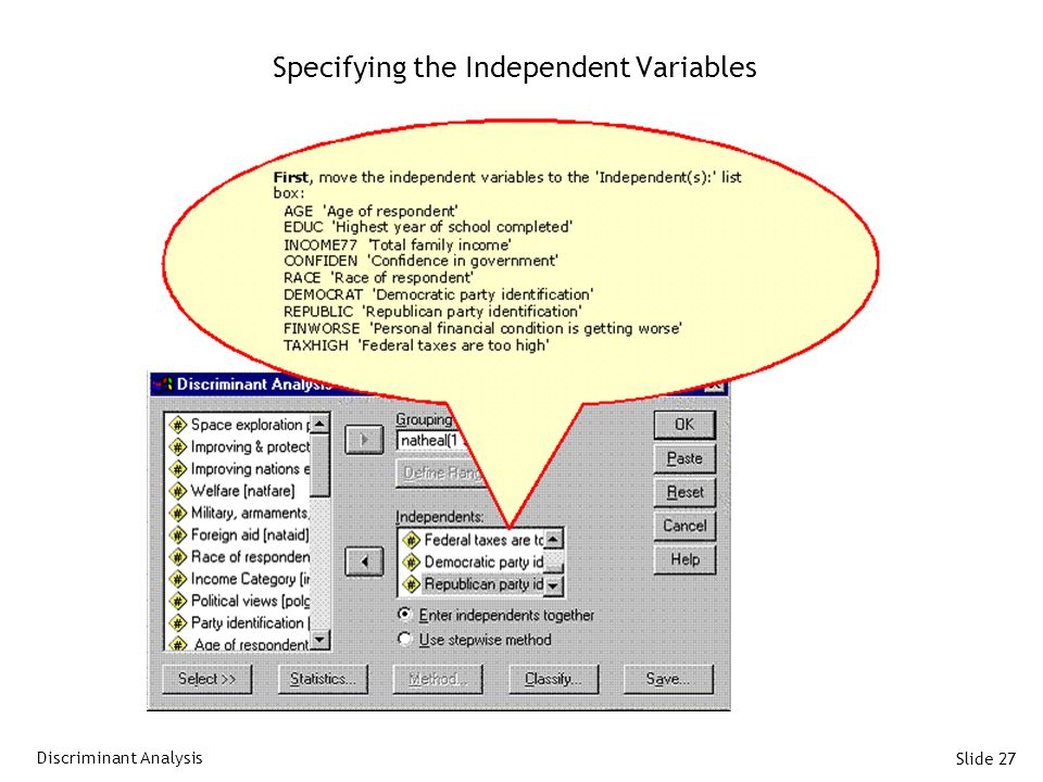 Slide 27 Specifying the Independent Variables Discriminant Analysis