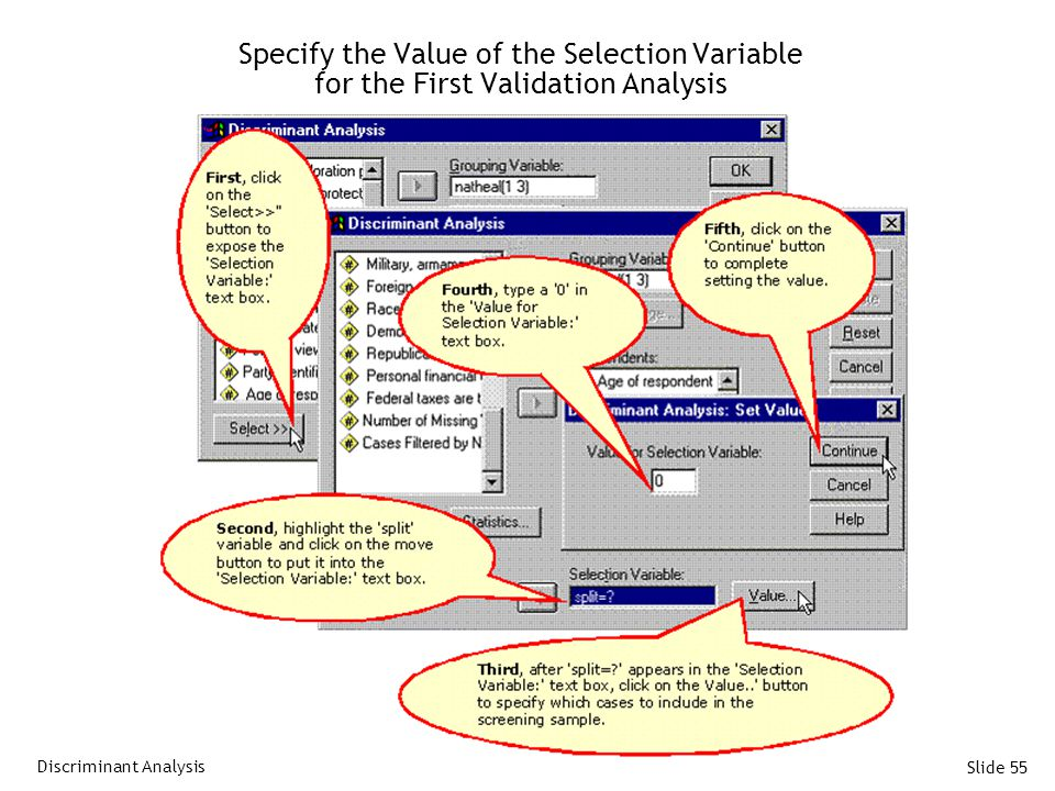 Slide 55 Specify the Value of the Selection Variable for the First Validation Analysis Discriminant Analysis