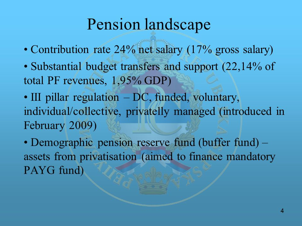 44 Pension landscape Contribution rate 24% net salary (17% gross salary) Substantial budget transfers and support (22,14% of total PF revenues, 1,95% GDP) III pillar regulation – DC, funded, voluntary, individual/collective, privatelly managed (introduced in February 2009) Demographic pension reserve fund (buffer fund) – assets from privatisation (aimed to finance mandatory PAYG fund)