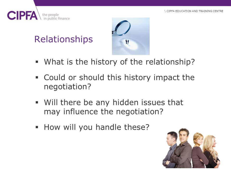 \ CIPFA EDUCATION AND TRAINING CENTRE Relationships  What is the history of the relationship.