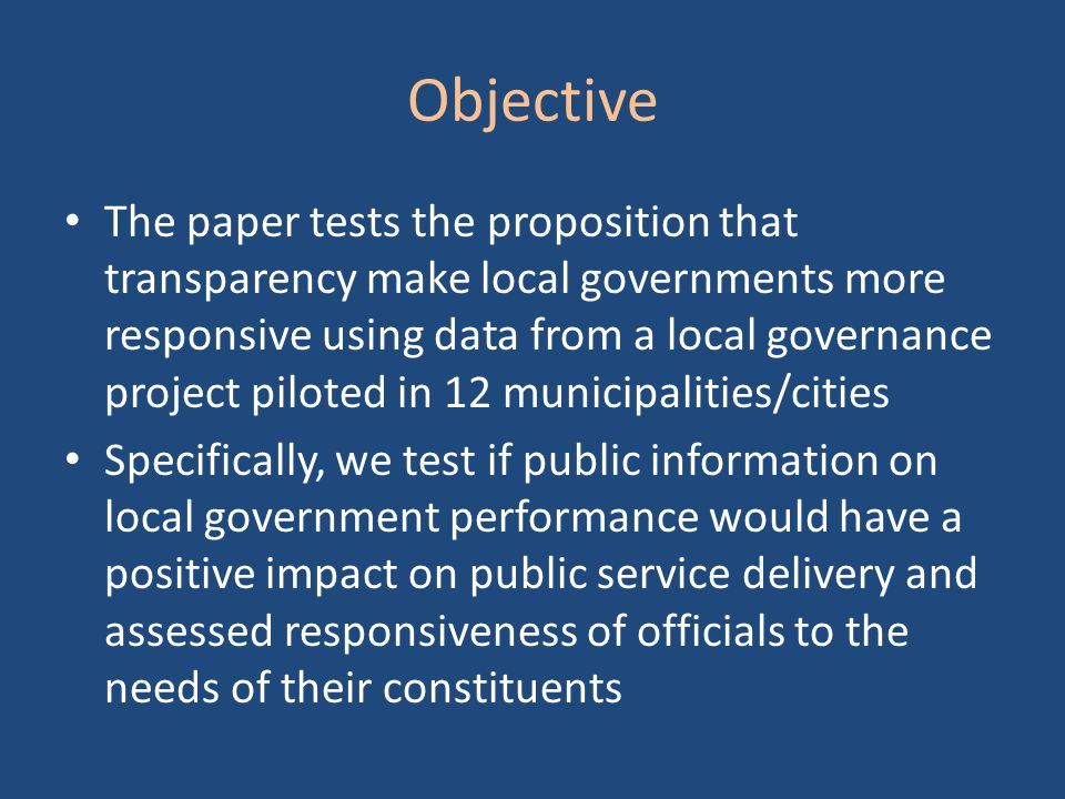 Related Literature The evidence is mixed regarding the responsiveness of local governments (LG) to local needs under decentralization Faguet (2004) found supporting evidence in Bolivia Lewis (2005) found in Indonesia that LGs are only partly responsive to local needs, and also partly captured by local elites Ahmad et al (2005) found mixed results