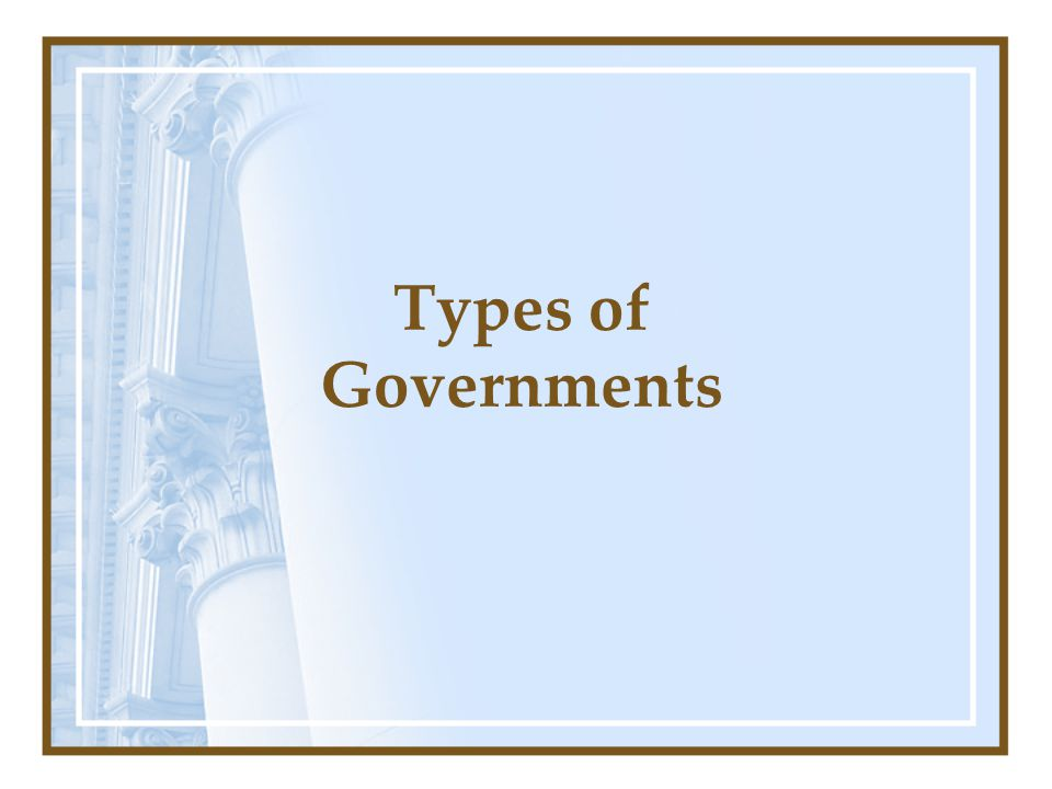 Questions to think about: What types of government do you know about.