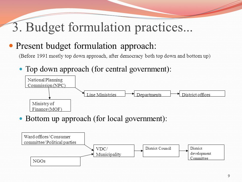 9 3. Budget formulation practices... Present budget formulation approach: (Before 1991 mostly top down approach, after democracy both top down and bot