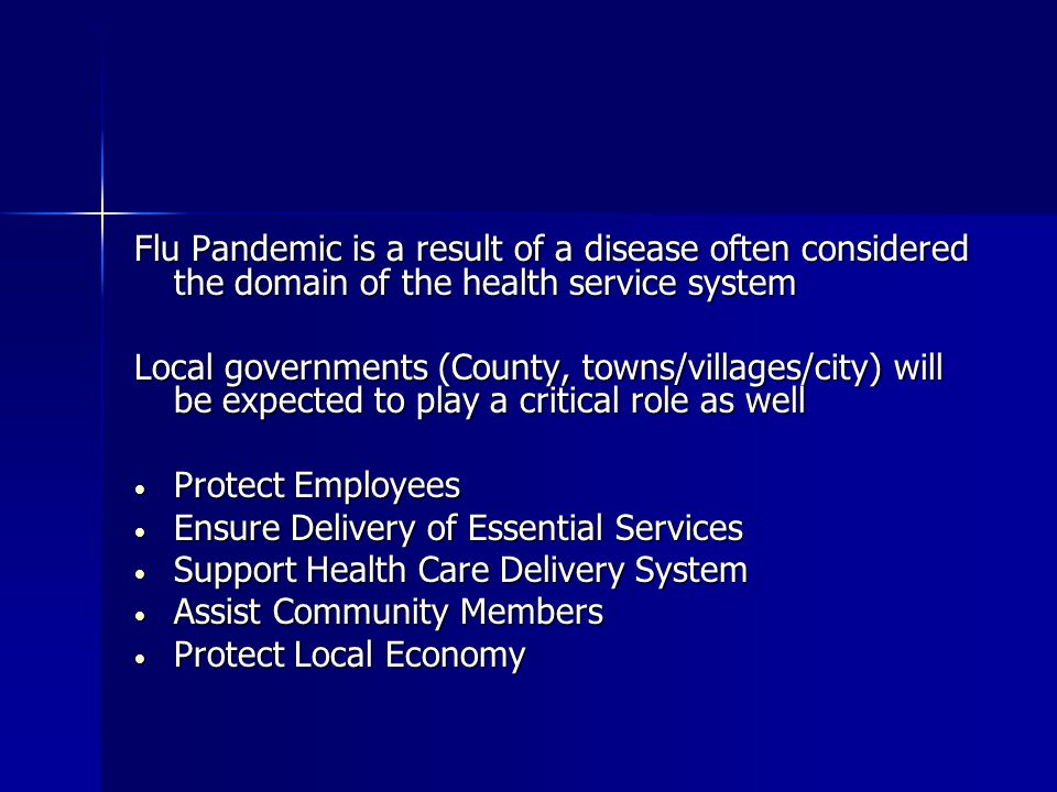 Flu Pandemic is a result of a disease often considered the domain of the health service system Local governments (County, towns/villages/city) will be expected to play a critical role as well Protect Employees Protect Employees Ensure Delivery of Essential Services Ensure Delivery of Essential Services Support Health Care Delivery System Support Health Care Delivery System Assist Community Members Assist Community Members Protect Local Economy Protect Local Economy