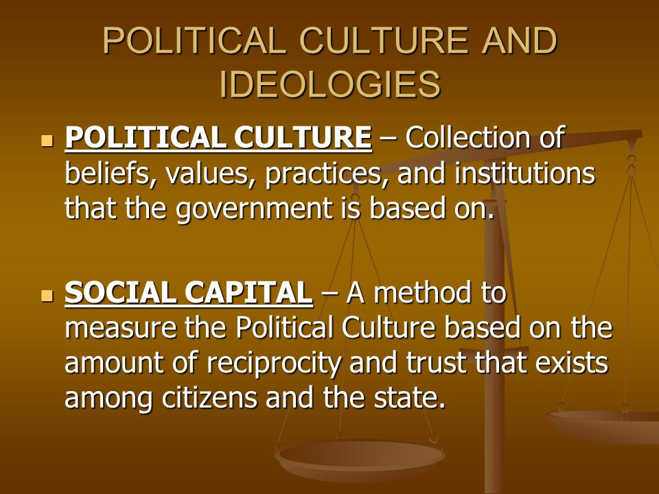 POLITICAL CULTURE AND IDEOLOGIES POLITICAL CULTURE – Collection of beliefs, values, practices, and institutions that the government is based on.