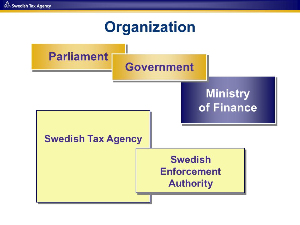 Parliament Government Ministry of Finance Swedish Tax Agency Swedish Enforcement Authority Organization