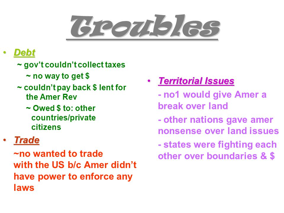 Troubles DebtDebt ~ gov't couldn't collect taxes ~ no way to get $ ~ couldn't pay back $ lent for the Amer Rev ~ Owed $ to: other countries/private citizens TradeTrade ~no wanted to trade with the US b/c Amer didn't have power to enforce any laws Territorial IssuesTerritorial Issues - no1 would give Amer a break over land - other nations gave amer nonsense over land issues - states were fighting each other over boundaries & $