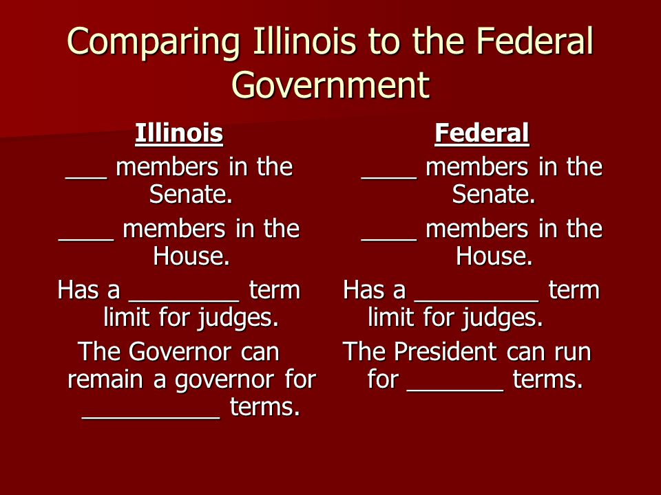 Comparing Illinois to the Federal Government Illinois ___ members in the Senate.