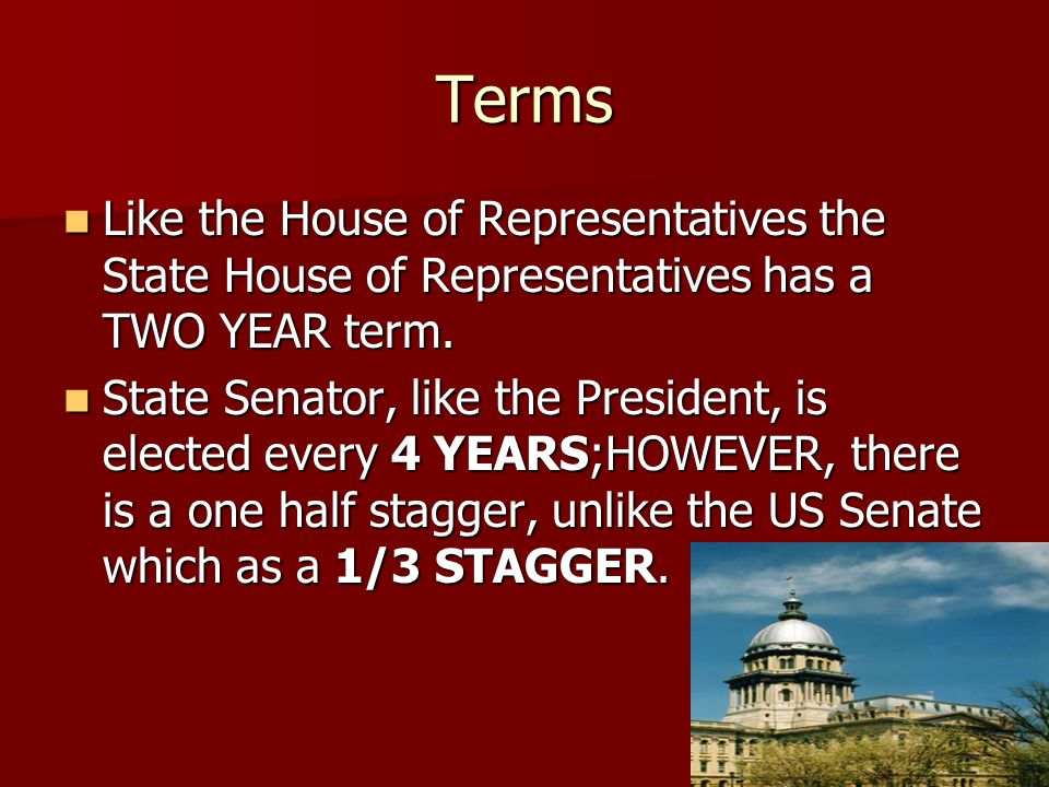 Terms Like the House of Representatives the State House of Representatives has a TWO YEAR term.