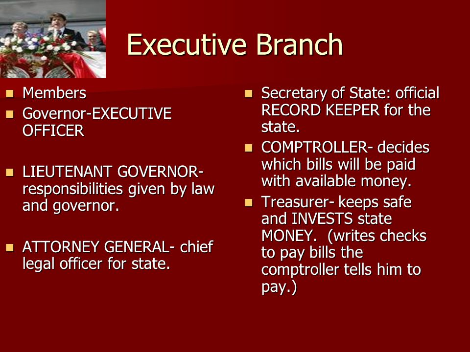 Executive Branch Members Members Governor-EXECUTIVE OFFICER Governor-EXECUTIVE OFFICER LIEUTENANT GOVERNOR- responsibilities given by law and governor.