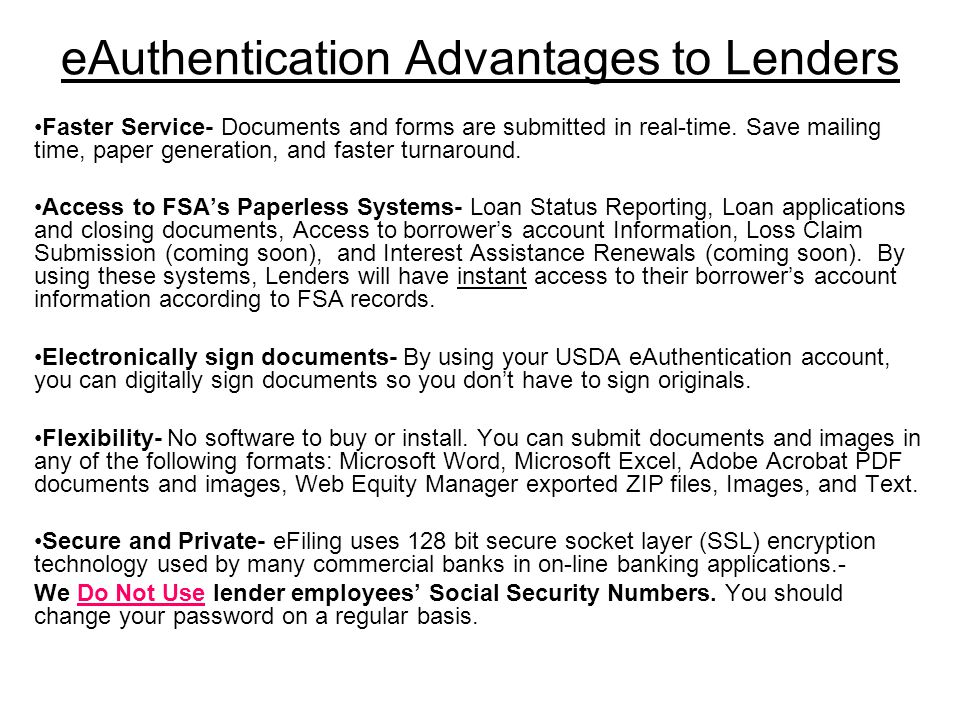 eAuthentication Advantages to Lenders Faster Service- Documents and forms are submitted in real-time. Save mailing time, paper generation, and faster