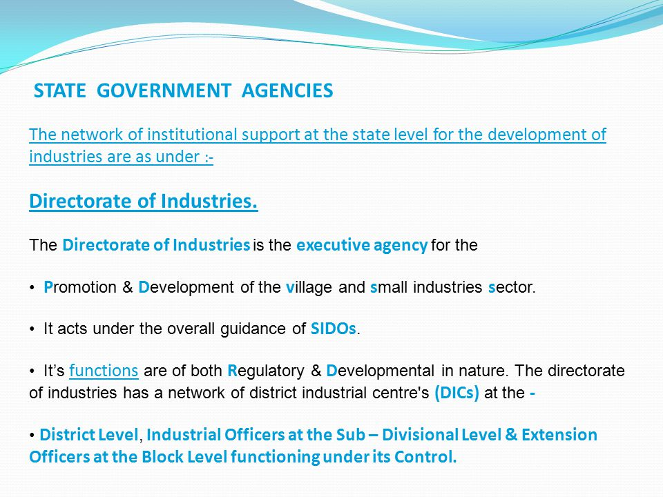 STATE GOVERNMENT AGENCIES The network of institutional support at the state level for the development of industries are as under :- Directorate of Ind