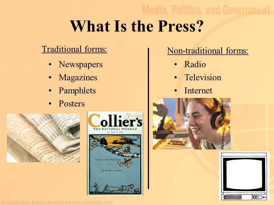 3 What Is the Press? Traditional forms: Non-traditional forms: Newspapers Magazines Pamphlets Posters Radio Television Internet