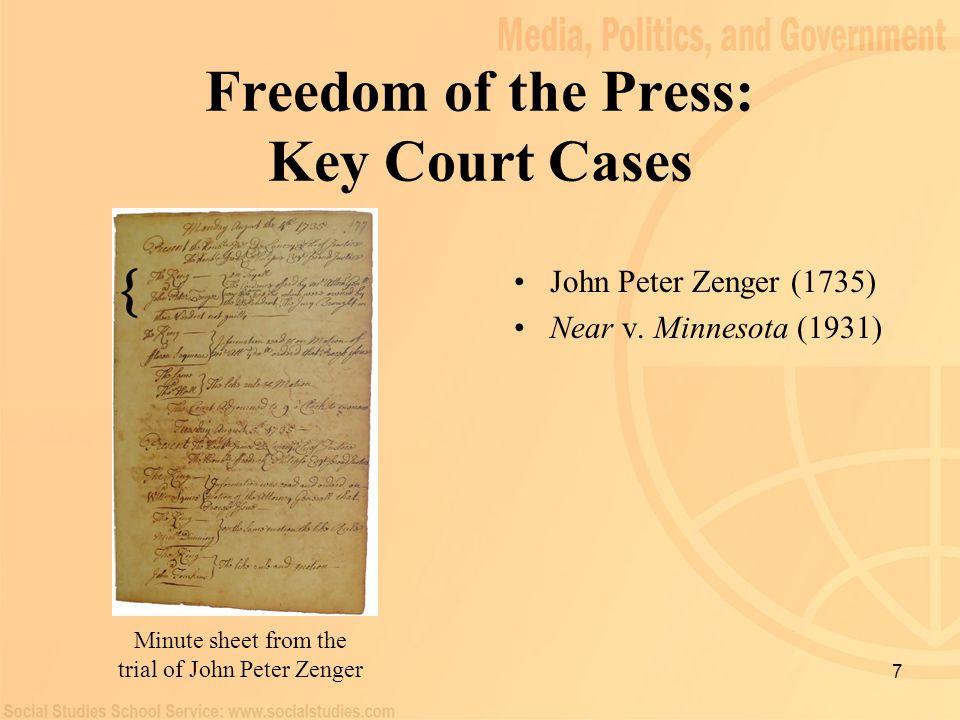 7 Freedom of the Press: Key Court Cases John Peter Zenger (1735) Near v. Minnesota (1931) Minute sheet from the trial of John Peter Zenger