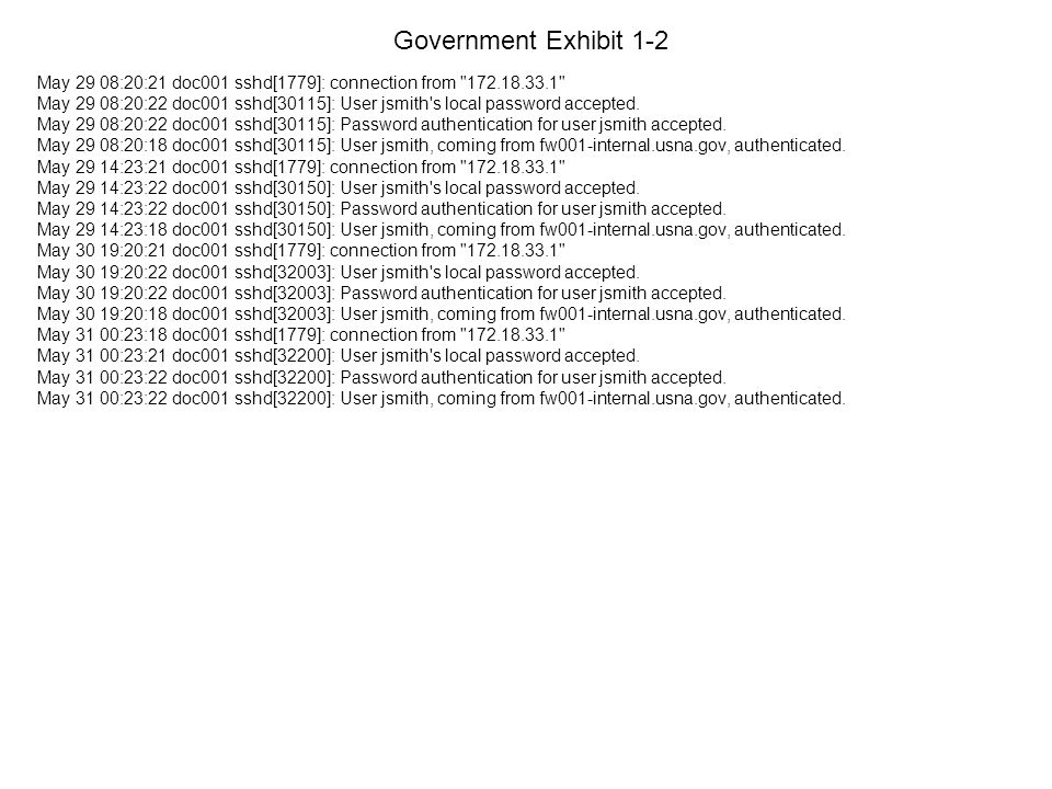 Government Exhibit 1-2 May 29 08:20:21 doc001 sshd[1779]: connection from 172.18.33.1 May 29 08:20:22 doc001 sshd[30115]: User jsmith s local password accepted.