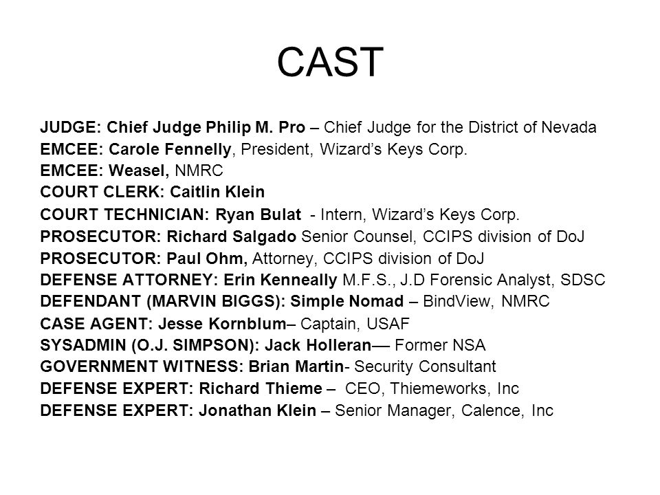CAST JUDGE: Chief Judge Philip M.