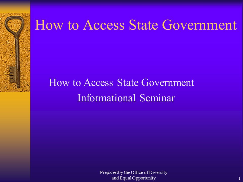 Prepared by the Office of Diversity and Equal Opportunity1 How to Access State Government Informational Seminar