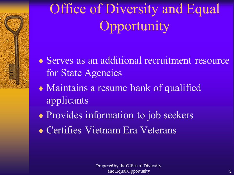 Prepared by the Office of Diversity and Equal Opportunity2 Office of Diversity and Equal Opportunity  Serves as an additional recruitment resource for State Agencies  Maintains a resume bank of qualified applicants  Provides information to job seekers  Certifies Vietnam Era Veterans