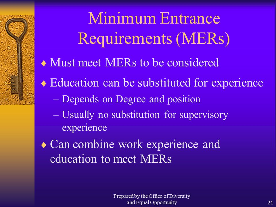 Prepared by the Office of Diversity and Equal Opportunity21 Minimum Entrance Requirements (MERs)  Must meet MERs to be considered  Education can be substituted for experience –Depends on Degree and position –Usually no substitution for supervisory experience  Can combine work experience and education to meet MERs