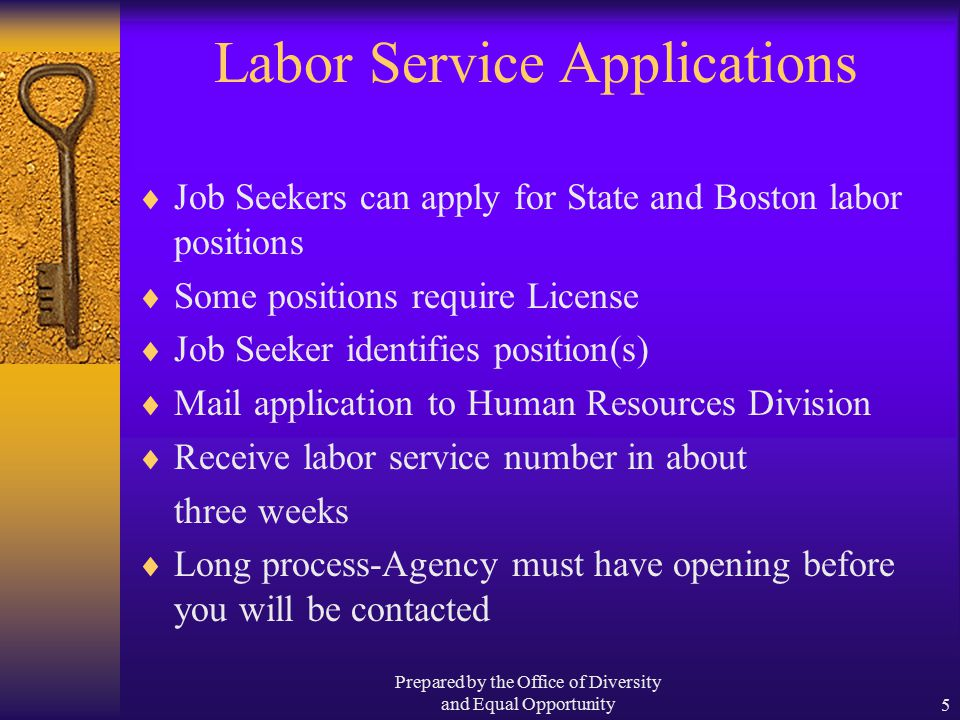 Prepared by the Office of Diversity and Equal Opportunity5 Labor Service Applications  Job Seekers can apply for State and Boston labor positions  Some positions require License  Job Seeker identifies position(s)  Mail application to Human Resources Division  Receive labor service number in about three weeks  Long process-Agency must have opening before you will be contacted