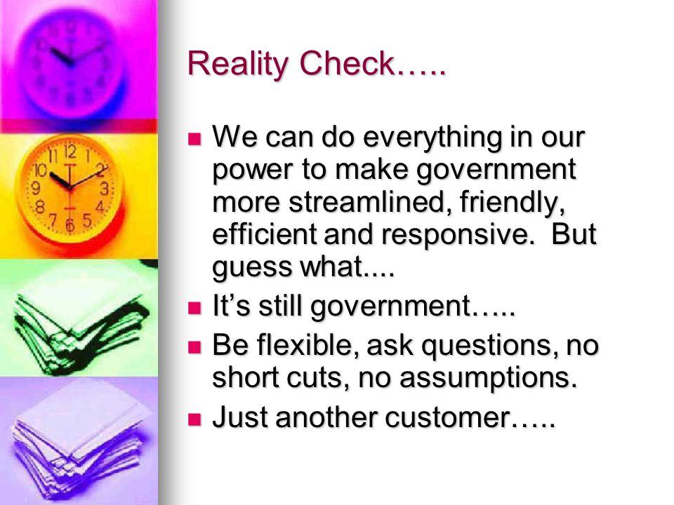 Reality Check…..