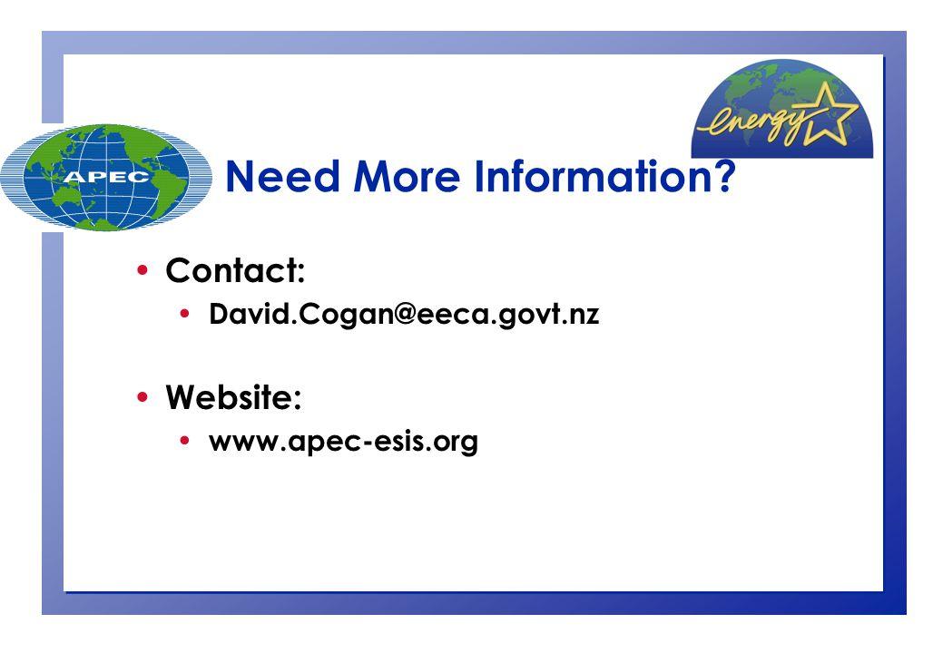 Contact: David.Cogan@eeca.govt.nz Website: www.apec-esis.org Need More Information?