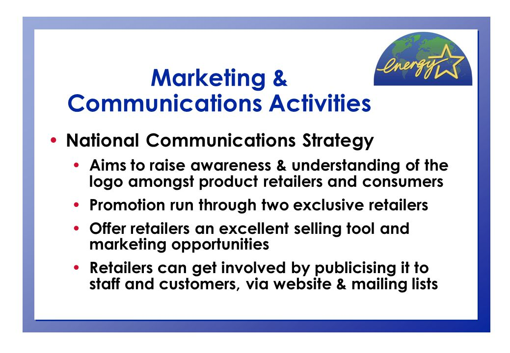 Marketing & Communications Activities National Communications Strategy cont… Meetings, briefings & liaison with retailers & stakeholders Information kit distribution to retailers & stakeholders Media relations (supported by advertising) Consumer competition/retailer incentive Postcards – targeted distribution & point-of-sale Events (e.g.