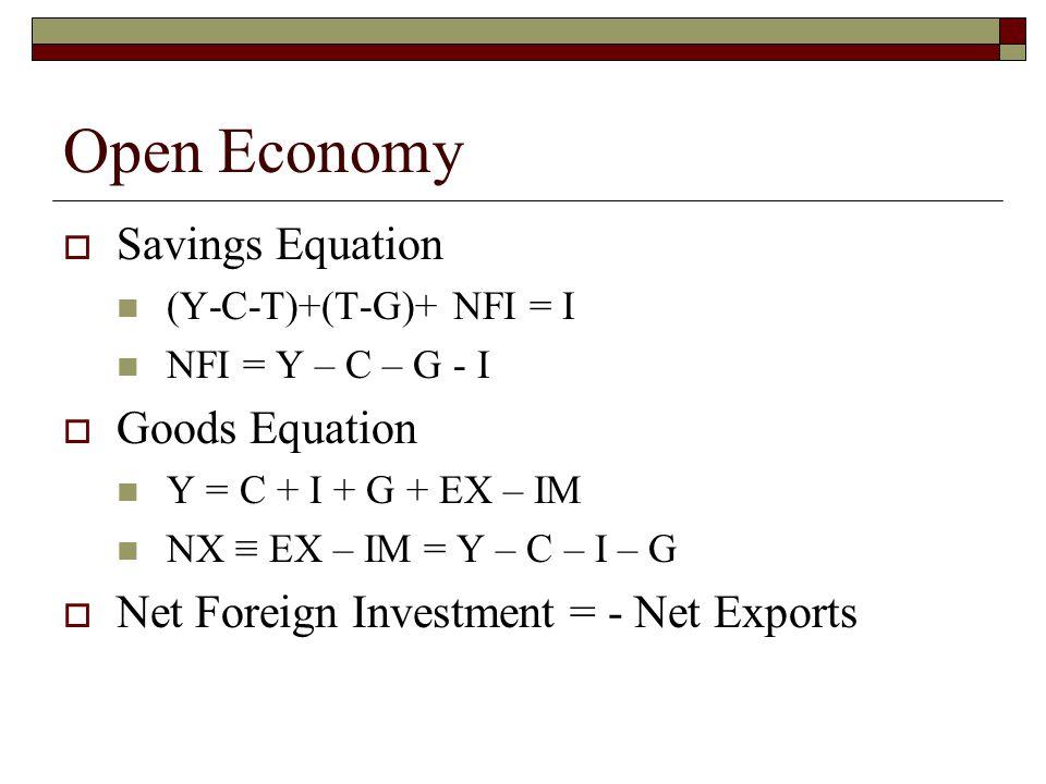 Open Economy  Savings Equation (Y-C-T)+(T-G)+ NFI = I NFI = Y – C – G - I  Goods Equation Y = C + I + G + EX – IM NX ≡ EX – IM = Y – C – I – G  Net