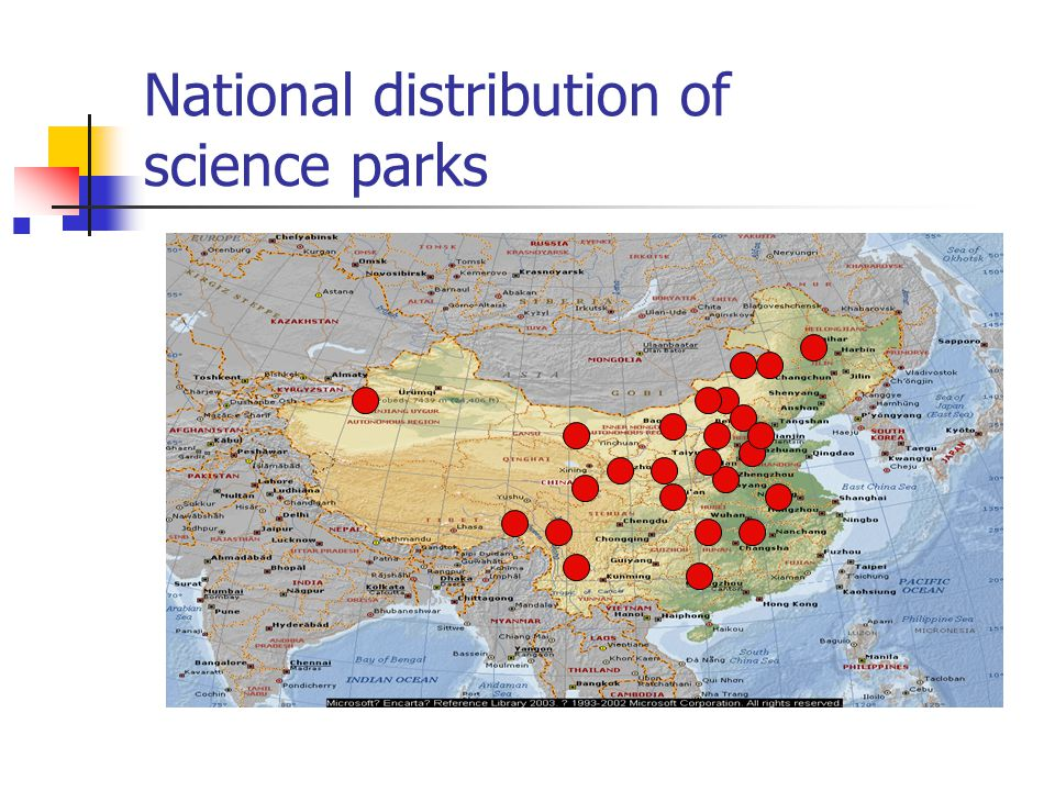 National distribution of science parks