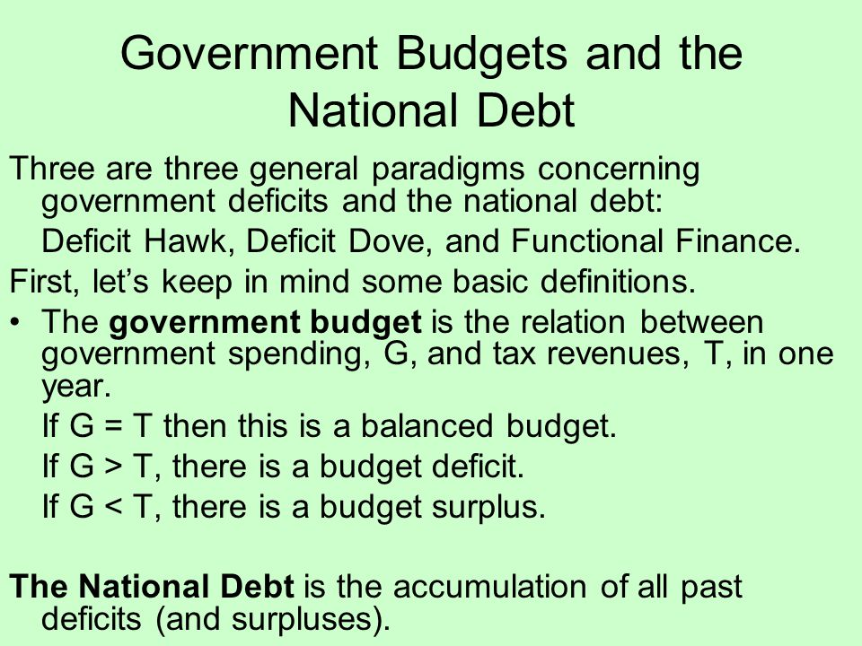 Government Budgets and the National Debt Three are three general paradigms concerning government deficits and the national debt: Deficit Hawk, Deficit Dove, and Functional Finance.