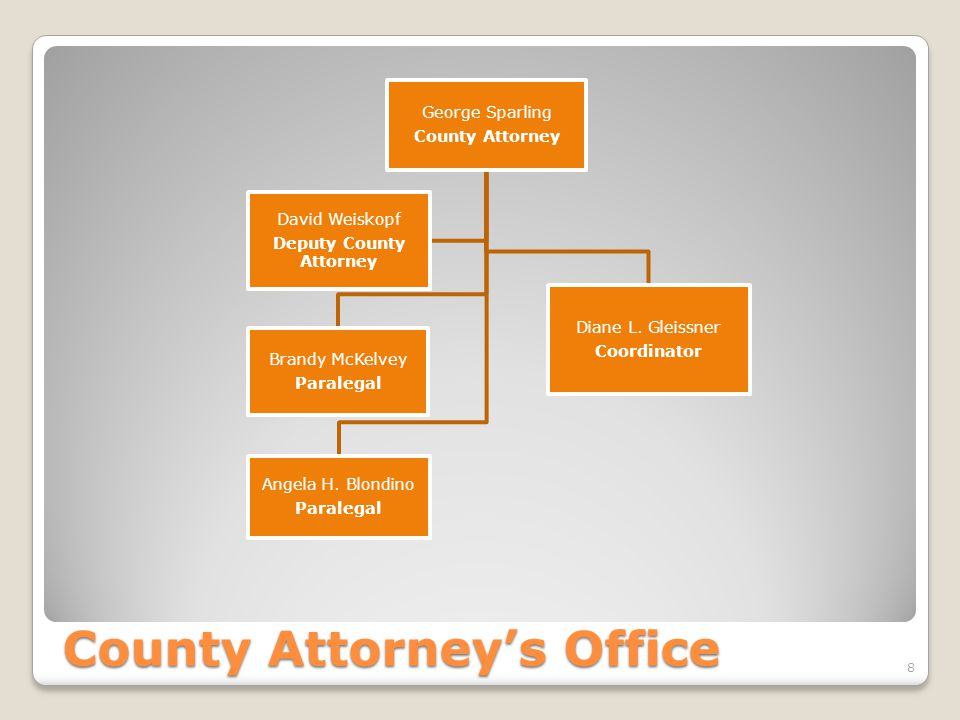 County Attorney's Office George Sparling County Attorney Diane L.