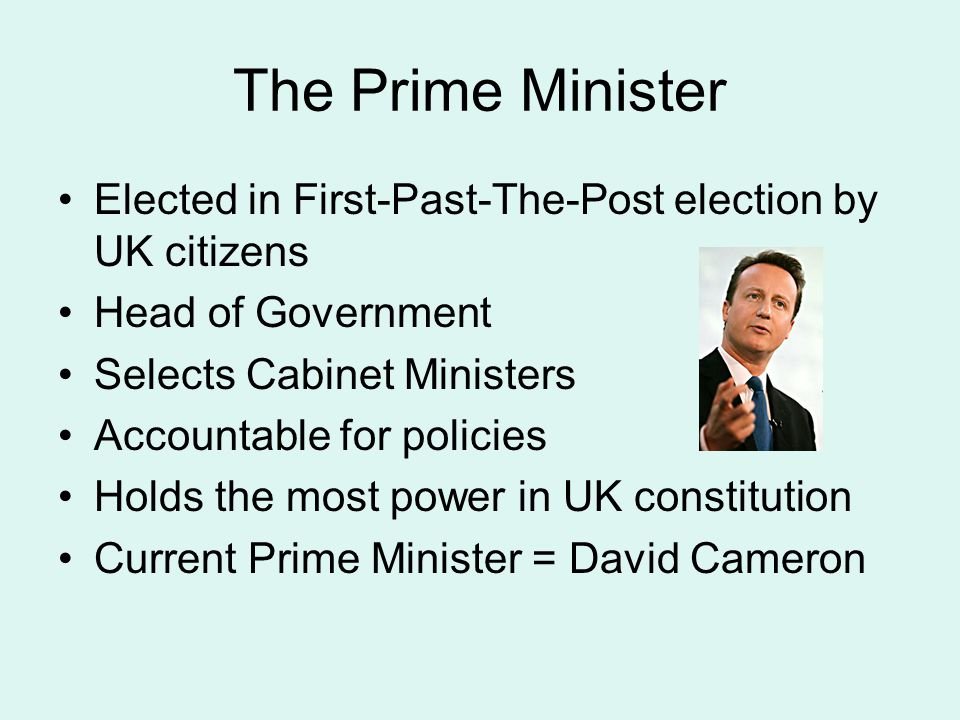 Cabinet Decision making body PM + 22 senior ministers selected by PM Leads the individual government departments (eg.