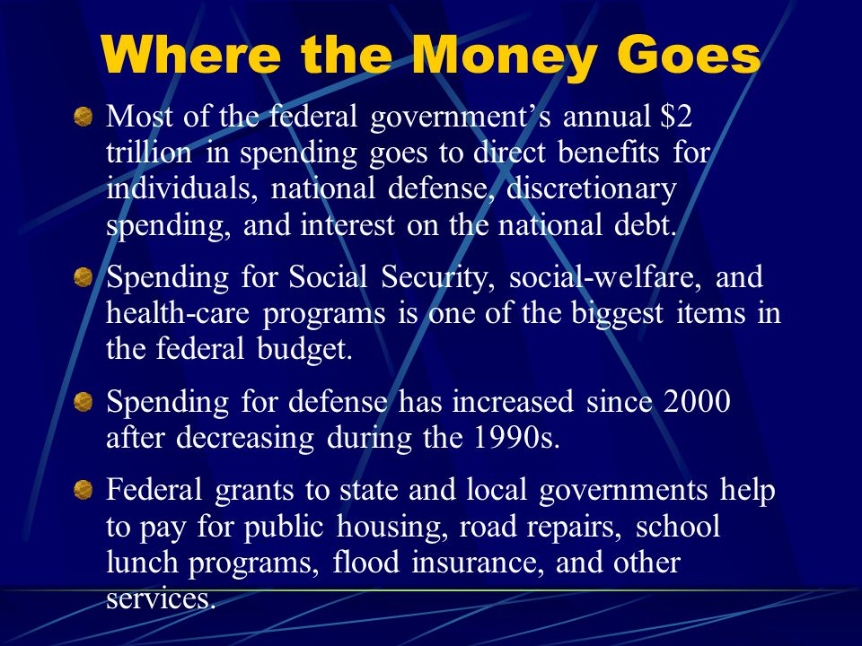 Where the Money Goes Most of the federal government's annual $2 trillion in spending goes to direct benefits for individuals, national defense, discretionary spending, and interest on the national debt.