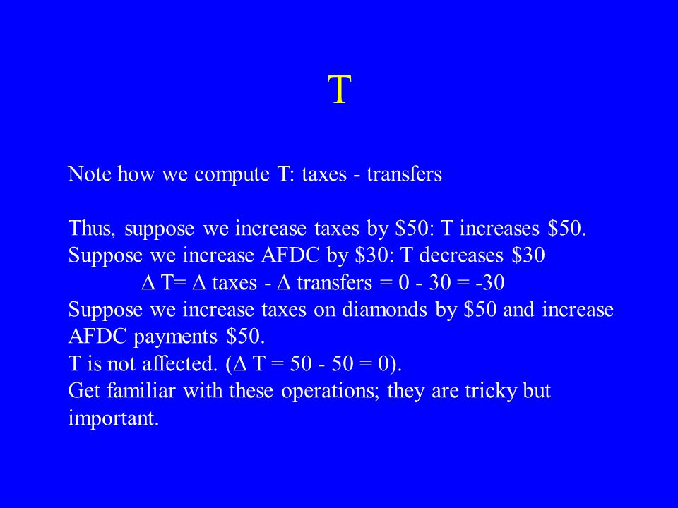 Definitions G: Government purchases of goods and services Examples: Aircraft carriers, national parks, USPS wages (Stuff that would be I if gov't was a firm) T: Net taxes = taxes- transfers Transfers: income redistribution, entitlements Example: social security, AFDC, food stamps, Medicaid Compare and contrast the two accounts.