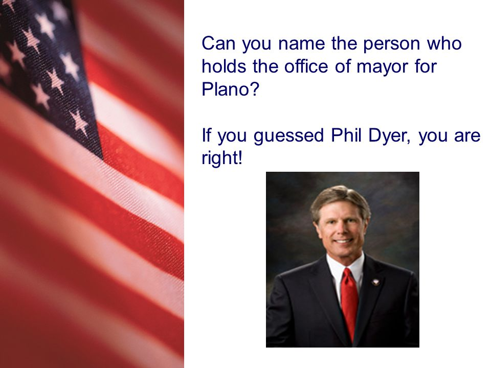 Can you name the person who holds the office of mayor for Plano.