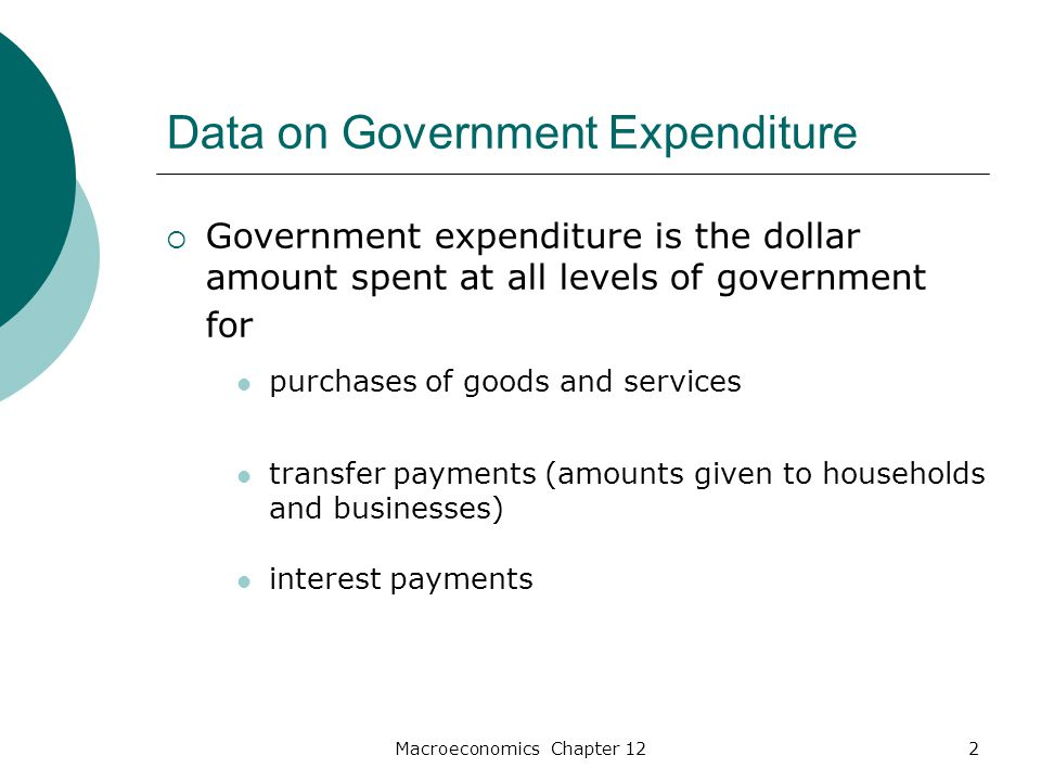 Macroeconomics Chapter 122 Data on Government Expenditure  Government expenditure is the dollar amount spent at all levels of government for purchases of goods and services transfer payments (amounts given to households and businesses) interest payments