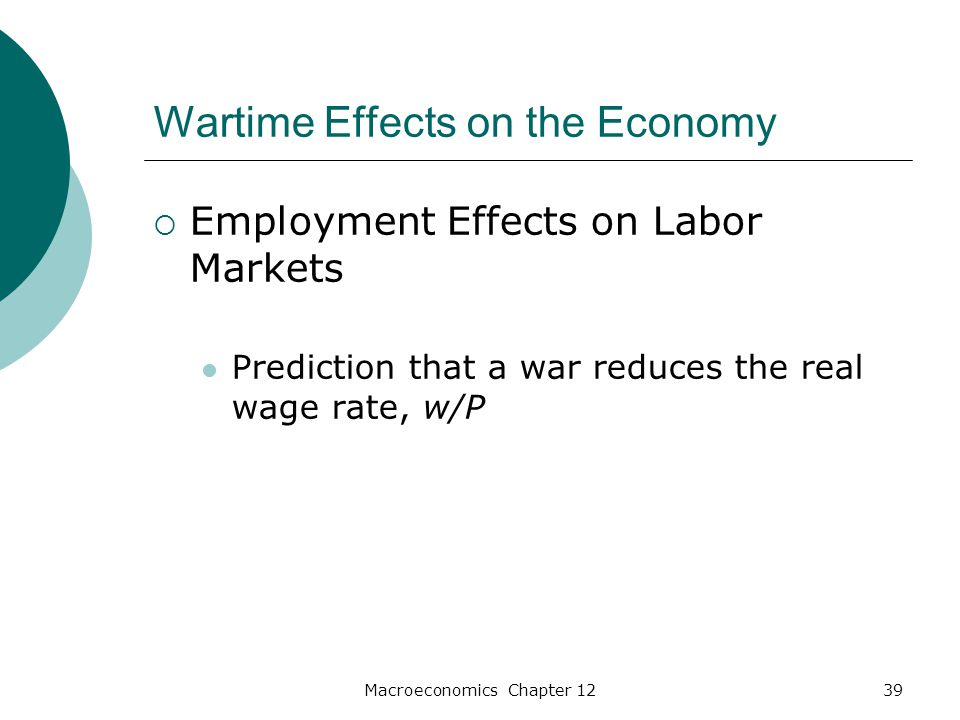 Macroeconomics Chapter 1239 Wartime Effects on the Economy  Employment Effects on Labor Markets Prediction that a war reduces the real wage rate, w/P
