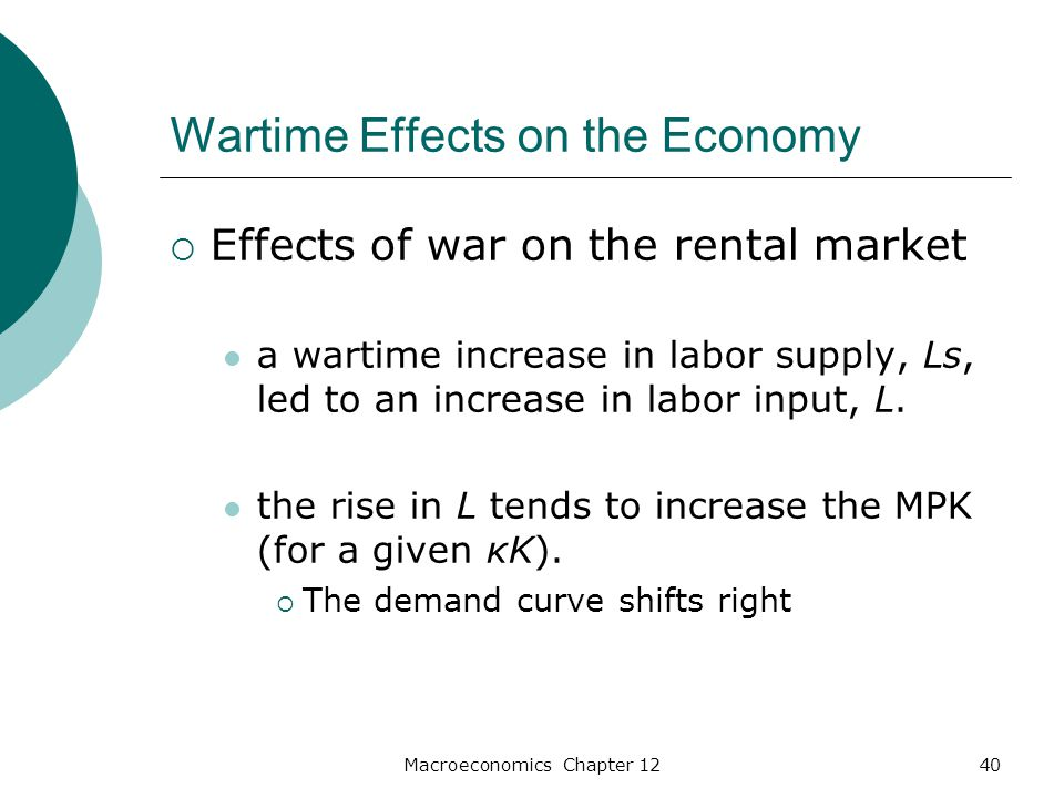 Macroeconomics Chapter 1240 Wartime Effects on the Economy  Effects of war on the rental market a wartime increase in labor supply, Ls, led to an increase in labor input, L.