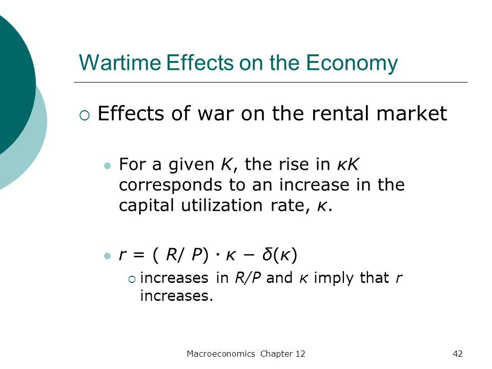 Macroeconomics Chapter 1242 Wartime Effects on the Economy  Effects of war on the rental market For a given K, the rise in κK corresponds to an increase in the capital utilization rate, κ.