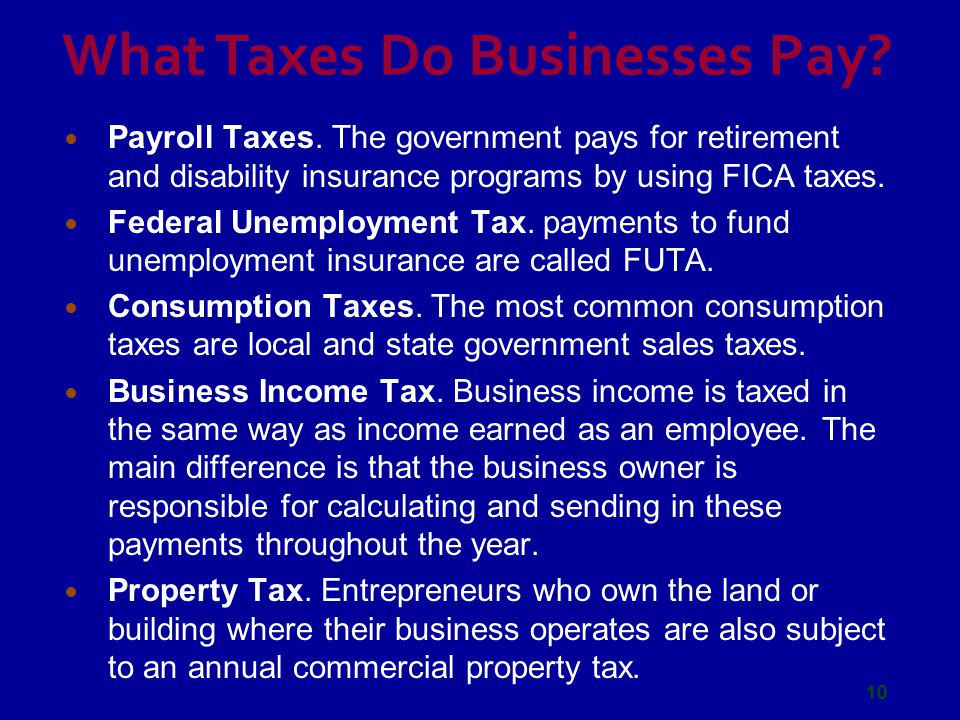 What Taxes Do Businesses Pay.Payroll Taxes.