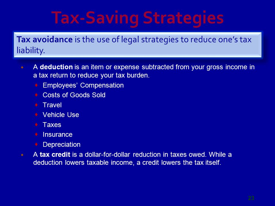 Tax-Saving Strategies A deduction is an item or expense subtracted from your gross income in a tax return to reduce your tax burden.  Employees' Comp